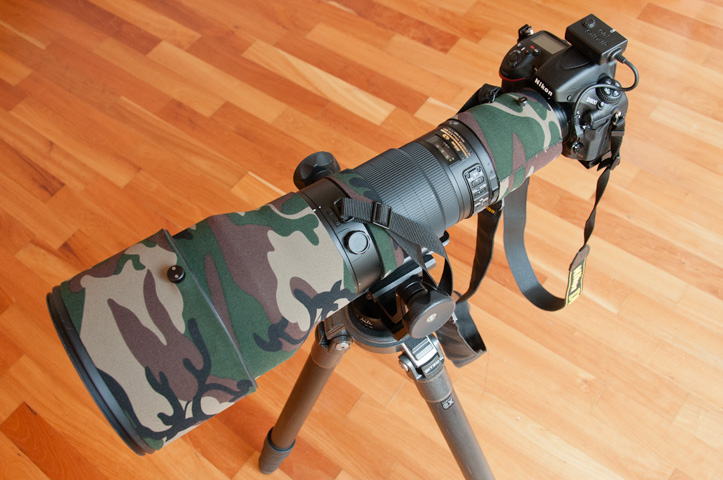 Nikon D800 with a 600mm VR f4 mounted on a Gitzo GT5541LS tripod with a Dietmar Nil head.